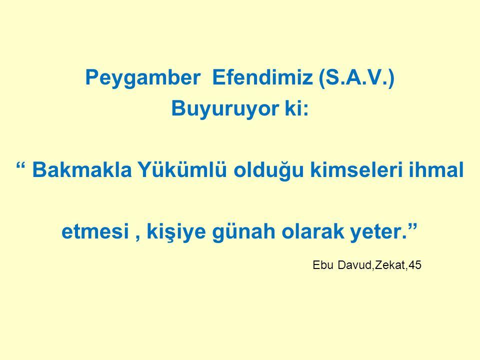"""Peygamber Efendimiz (S.A.V.) Buyuruyor ki: """" Bakmakla Yükümlü olduğu kimseleri ihmal etmesi, kişiye günah olarak yeter."""" Ebu Davud,Zekat,45"""