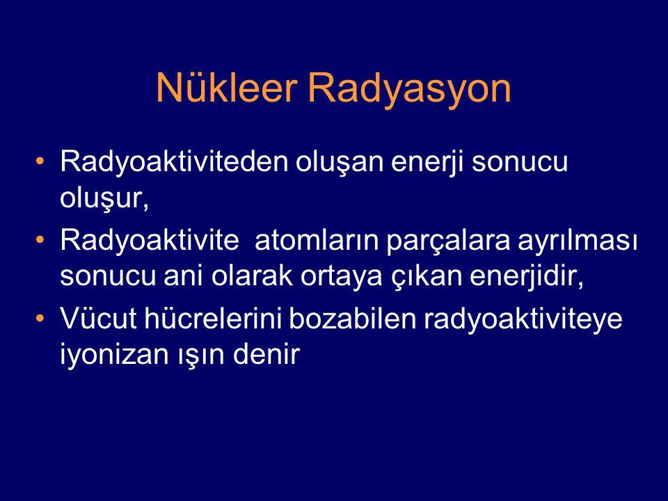 Nükleer Radyasyon Radyoaktiviteden oluşan enerji sonucu oluşur, Radyoaktivite atomların parçalara ayrılması sonucu ani olarak ortaya çıkan enerjidir, Vücut hücrelerini bozabilen radyoaktiviteye iyonizan ışın denir