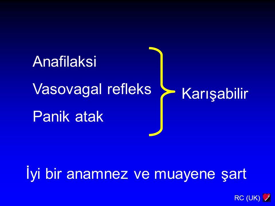 RC (UK) Anafilaksi Vasovagal refleks Panik atak Karışabilir İyi bir anamnez ve muayene şart