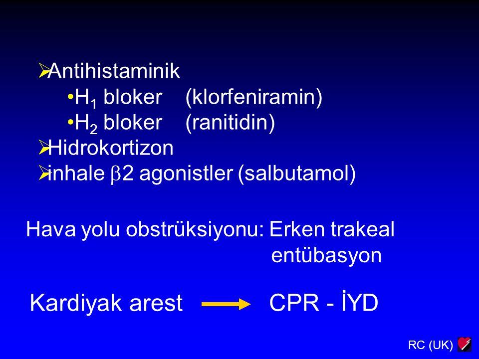 RC (UK)  Antihistaminik H 1 bloker (klorfeniramin) H 2 bloker (ranitidin)  Hidrokortizon  inhale  2 agonistler (salbutamol) Hava yolu obstrüksiyon