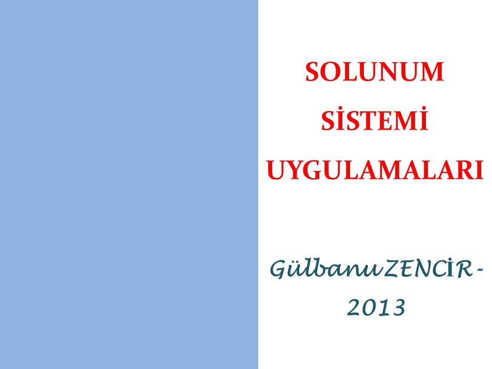 SOLUNUM SİSTEMİ UYGULAMALARI Gülbanu ZENC İ R- 2013