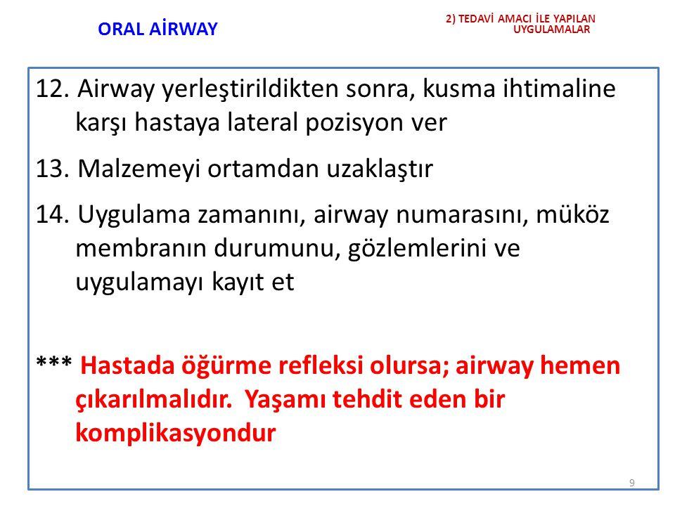 ORAL AİRWAY 12. Airway yerleştirildikten sonra, kusma ihtimaline karşı hastaya lateral pozisyon ver 13. Malzemeyi ortamdan uzaklaştır 14. Uygulama zam