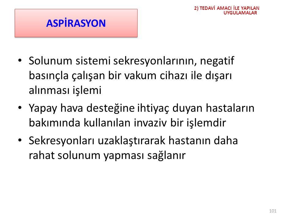 ASPİRASYON Solunum sistemi sekresyonlarının, negatif basınçla çalışan bir vakum cihazı ile dışarı alınması işlemi Yapay hava desteğine ihtiyaç duyan h