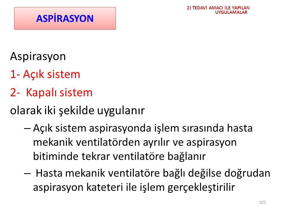 Aspirasyon 1- Açık sistem 2- Kapalı sistem olarak iki şekilde uygulanır – Açık sistem aspirasyonda işlem sırasında hasta mekanik ventilatörden ayrılır