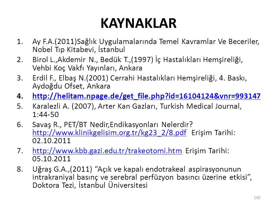 KAYNAKLAR 1.Ay F.A.(2011)Sağlık Uygulamalarında Temel Kavramlar Ve Beceriler, Nobel Tıp Kitabevi, İstanbul 2.Birol L.,Akdemir N., Bedük T.,(1997) İç H