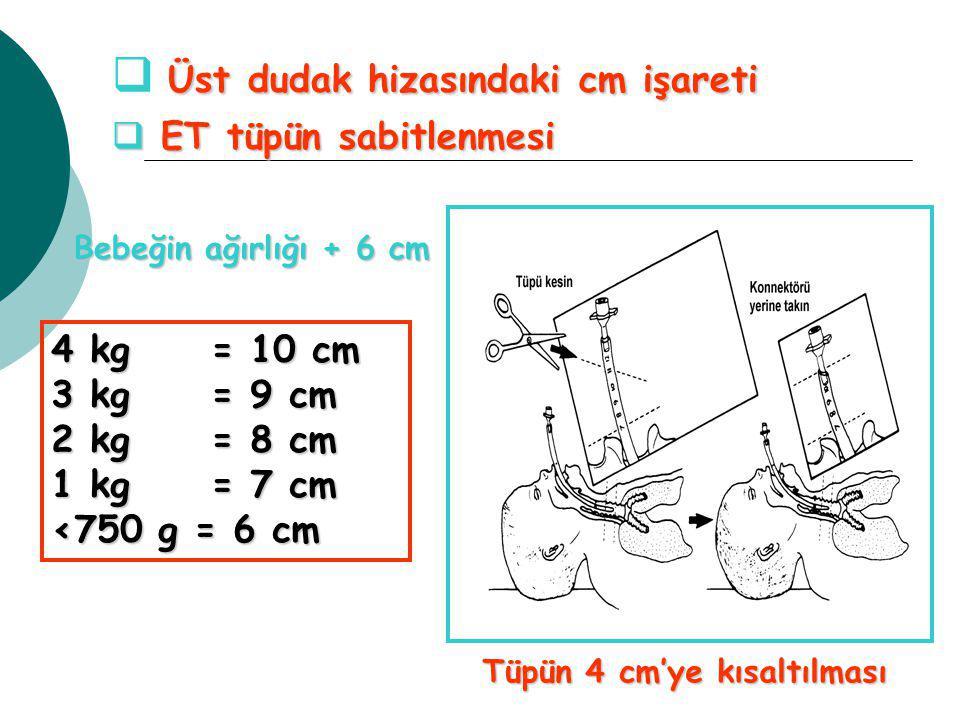Bebeğin ağırlığı + 6 cm 4 kg = 10 cm 3 kg = 9 cm 2 kg = 8 cm 1 kg = 7 cm <750 g = 6 cm  Üst dudak hizasındaki cm işareti  ET tüpün sabitlenmesi Tüpün 4 cm'ye kısaltılması