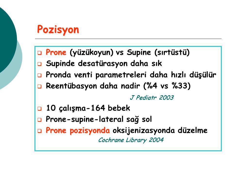 Pozisyon  Prone  Prone (yüzükoyun) vs Supine (sırtüstü)  Supinde desatürasyon daha sık  Pronda venti parametreleri daha hızlı düşülür  Reentübasyon daha nadir (%4 vs %33) J Pediatr 2003  10 çalışma-164 bebek  Prone-supine-lateral sağ sol  Prone pozisyonda  Prone pozisyonda oksijenizasyonda düzelme Cochrane Library 2004