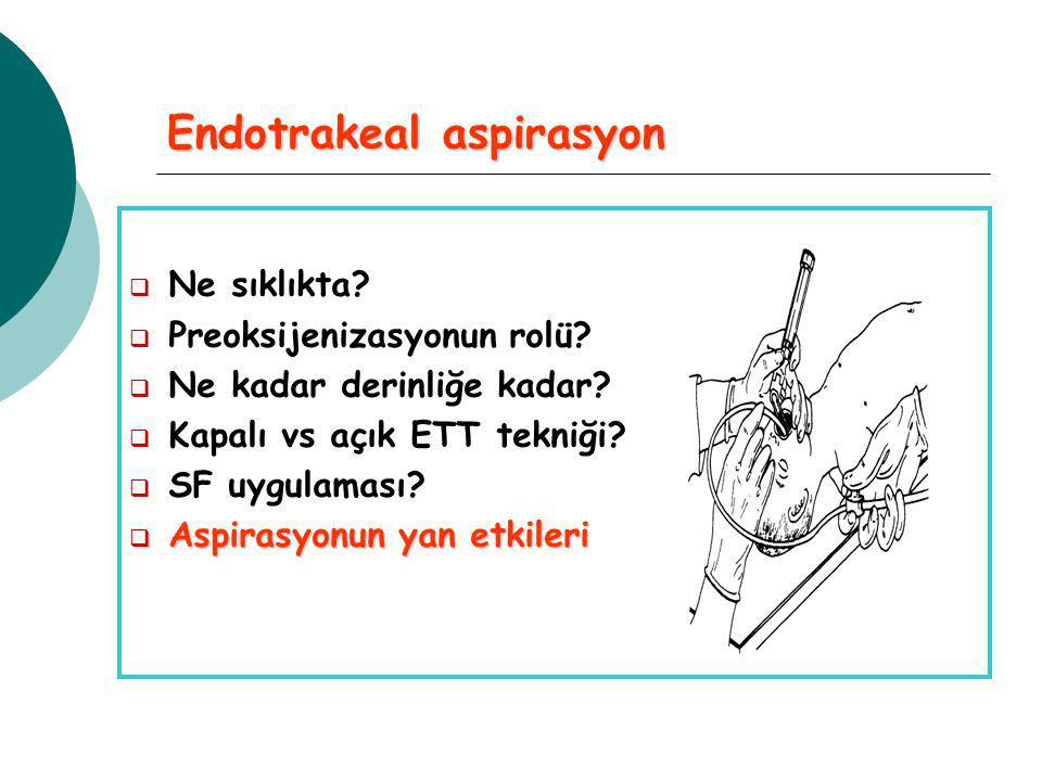 Endotrakeal aspirasyon  Ne sıklıkta. Preoksijenizasyonun rolü.