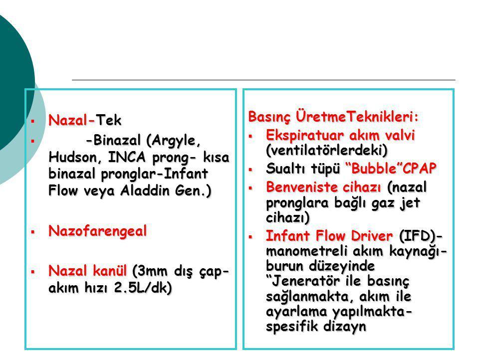  Nazal-Tek  -Binazal (Argyle, Hudson, INCA prong- kısa binazal pronglar-Infant Flow veya Aladdin Gen.)  Nazofarengeal  Nazal kanül (3mm dış çap- akım hızı 2.5L/dk) Basınç ÜretmeTeknikleri:  Ekspiratuar akım valvi (ventilatörlerdeki)  Sualtı tüpü Bubble CPAP  Benveniste cihazı (nazal pronglara bağlı gaz jet cihazı)  Infant Flow Driver (IFD)- manometreli akım kaynağı- burun düzeyinde Jeneratör ile basınç sağlanmakta, akım ile ayarlama yapılmakta- spesifik dizayn