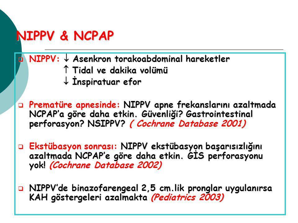 NIPPV & NCPAP  NIPPV:  Asenkron torakoabdominal hareketler  Tidal ve dakika volümü  Tidal ve dakika volümü  İnspiratuar efor  İnspiratuar efor  Prematüre apnesinde: NIPPV apne frekanslarını azaltmada NCPAP'a göre daha etkin.