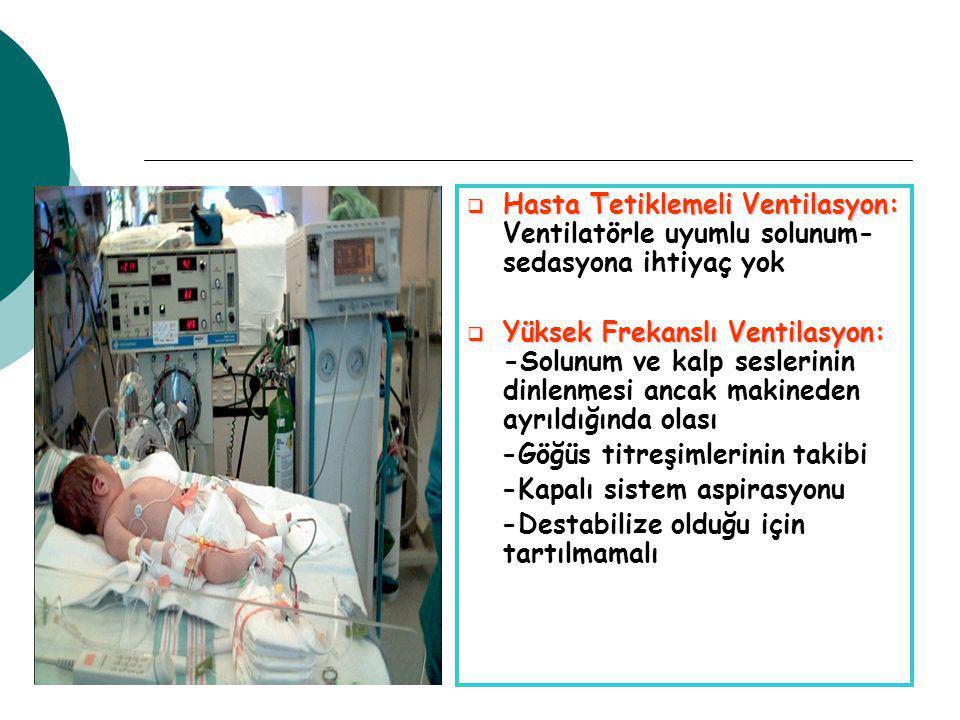  Hasta Tetiklemeli Ventilasyon:  Hasta Tetiklemeli Ventilasyon: Ventilatörle uyumlu solunum- sedasyona ihtiyaç yok  Yüksek Frekanslı Ventilasyon:  Yüksek Frekanslı Ventilasyon: -Solunum ve kalp seslerinin dinlenmesi ancak makineden ayrıldığında olası -Göğüs titreşimlerinin takibi -Kapalı sistem aspirasyonu -Destabilize olduğu için tartılmamalı