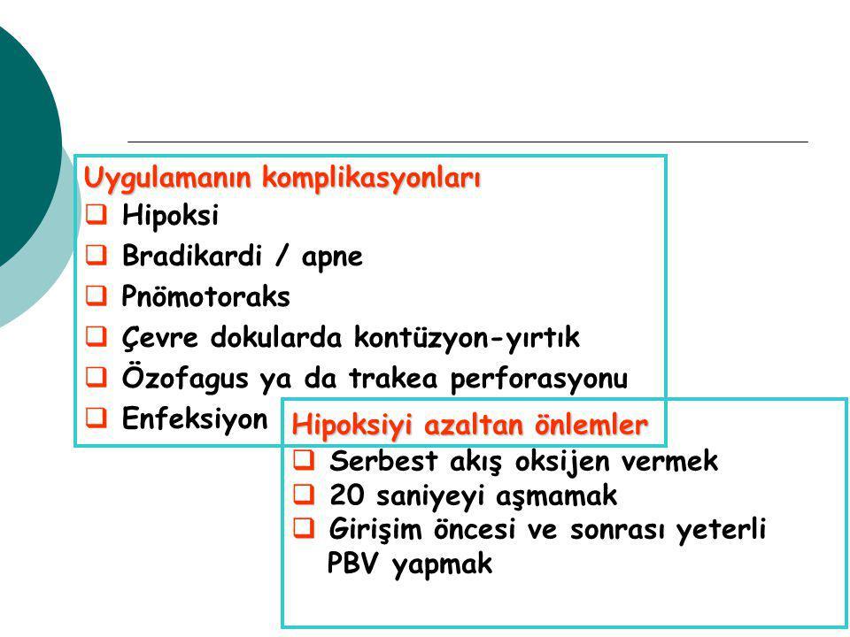 Uygulamanın komplikasyonları   Hipoksi   Bradikardi / apne   Pnömotoraks   Çevre dokularda kontüzyon-yırtık   Özofagus ya da trakea perforasyonu   Enfeksiyon Hipoksiyi azaltan önlemler   Serbest akış oksijen vermek   20 saniyeyi aşmamak   Girişim öncesi ve sonrası yeterli PBV yapmak