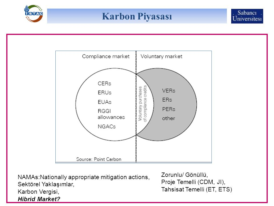 Karbon Piyasası NAMAs:Nationally appropriate mitigation actions, Sektörel Yaklaşımlar, Karbon Vergisi, Hibrid Market.