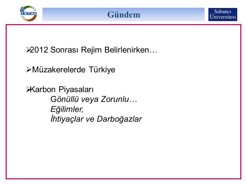 Gündem  2012 Sonrası Rejim Belirlenirken…  Müzakerelerde Türkiye  Karbon Piyasaları Gönüllü veya Zorunlu… Eğilimler, İhtiyaçlar ve Darboğazlar