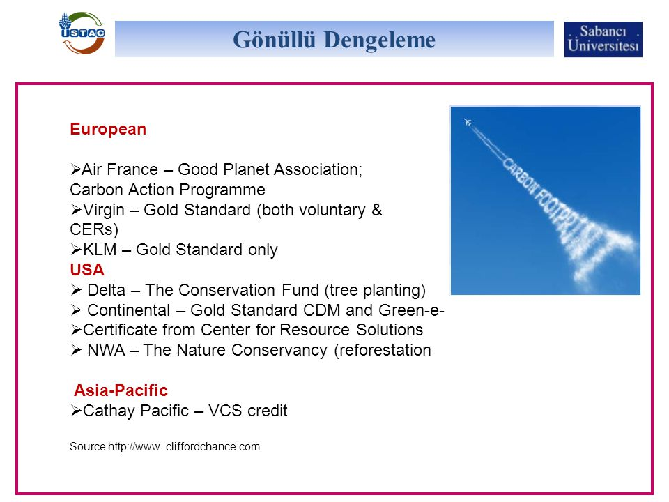 European  Air France – Good Planet Association; Carbon Action Programme  Virgin – Gold Standard (both voluntary & CERs)  KLM – Gold Standard only U