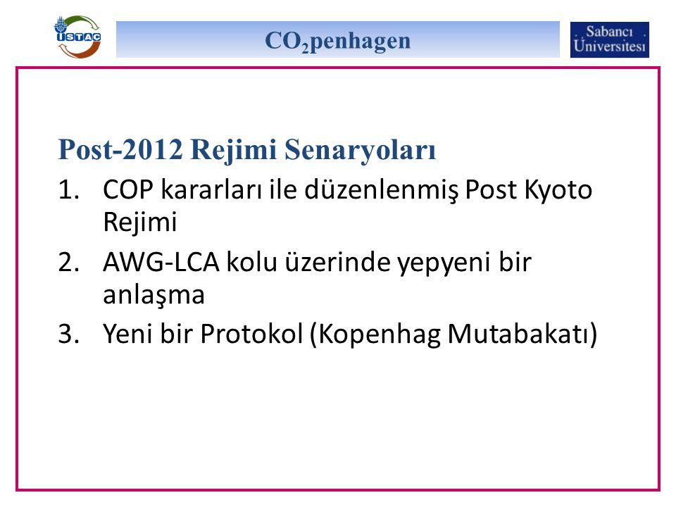 Post-2012 Rejimi Senaryoları 1.COP kararları ile düzenlenmiş Post Kyoto Rejimi 2.AWG-LCA kolu üzerinde yepyeni bir anlaşma 3.Yeni bir Protokol (Kopenhag Mutabakatı) CO 2 penhagen