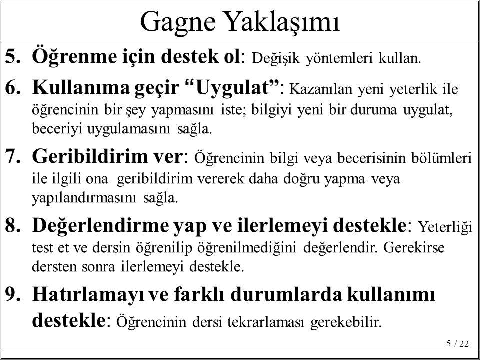 """Gagne Yaklaşımı 5.Öğrenme için destek ol: Değişik yöntemleri kullan. 6.Kullanıma geçir """"Uygulat"""": Kazanılan yeni yeterlik ile öğrencinin bir şey yapma"""