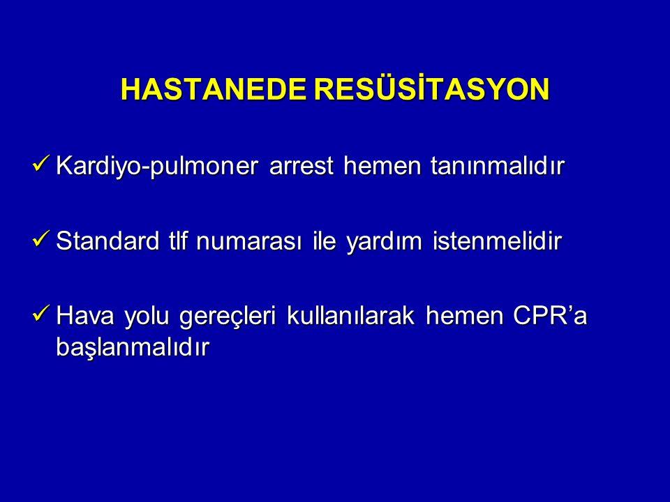 HASTANEDE RESÜSİTASYON Kardiyo-pulmoner arrest hemen tanınmalıdır Kardiyo-pulmoner arrest hemen tanınmalıdır Standard tlf numarası ile yardım istenmel