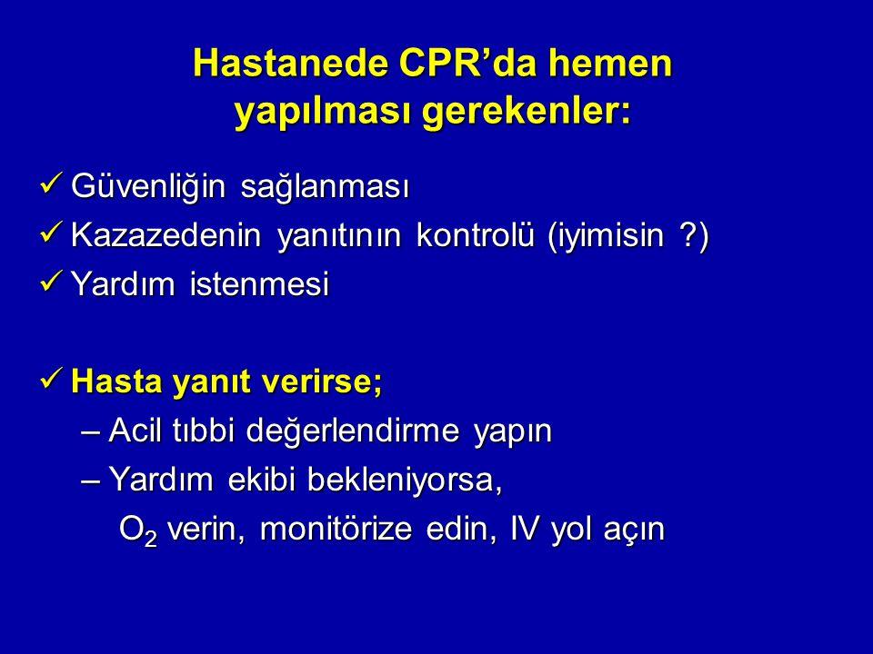 Hastanede CPR'da hemen yapılması gerekenler: Güvenliğin sağlanması Güvenliğin sağlanması Kazazedenin yanıtının kontrolü (iyimisin ?) Kazazedenin yanıt