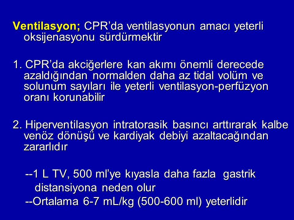 Ventilasyon; CPR'da ventilasyonun amacı yeterli oksijenasyonu sürdürmektir 1. CPR'da akciğerlere kan akımı önemli derecede azaldığından normalden daha