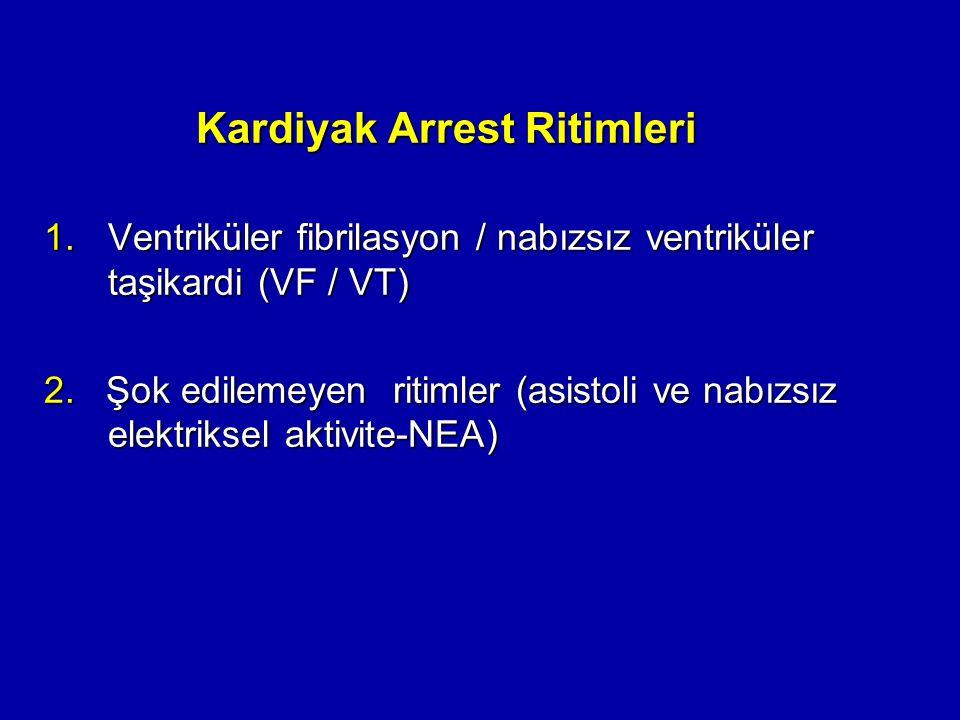 Kardiyak Arrest Ritimleri 1.Ventriküler fibrilasyon / nabızsız ventriküler taşikardi (VF / VT) 2. Şok edilemeyen ritimler (asistoli ve nabızsız elektr