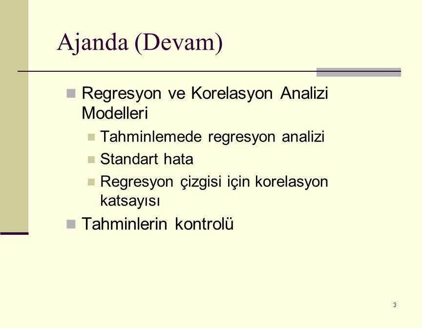 3 Ajanda (Devam) Regresyon ve Korelasyon Analizi Modelleri Tahminlemede regresyon analizi Standart hata Regresyon çizgisi için korelasyon katsayısı Tahminlerin kontrolü