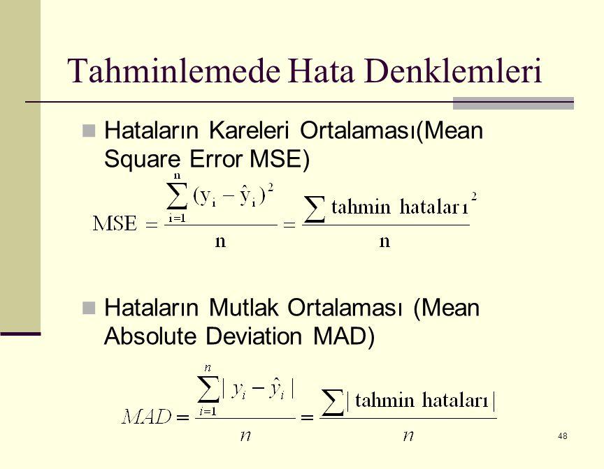48 Hataların Kareleri Ortalaması(Mean Square Error MSE) Hataların Mutlak Ortalaması (Mean Absolute Deviation MAD) Tahminlemede Hata Denklemleri