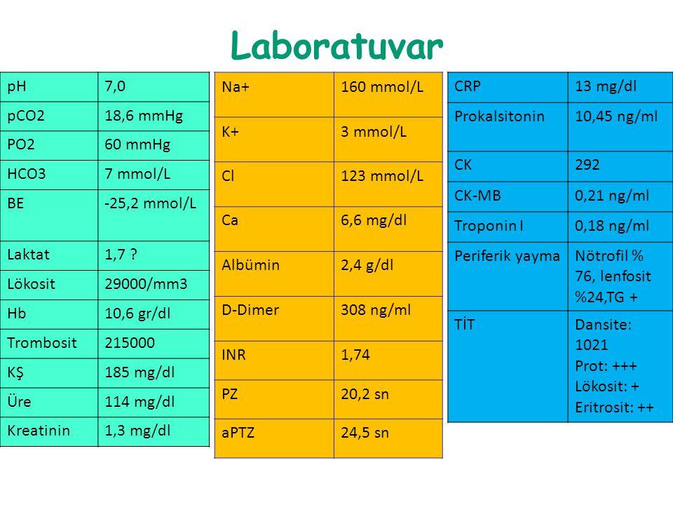 Laboratuvar pH7,0 pCO218,6 mmHg PO260 mmHg HCO37 mmol/L BE-25,2 mmol/L Laktat1,7 ? Lökosit29000/mm3 Hb10,6 gr/dl Trombosit215000 KŞ185 mg/dl Üre114 mg