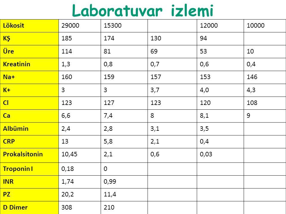 Laboratuvar izlemi Lökosit29000153001200010000 KŞ18517413094 Üre11481695310 Kreatinin1,30,80,70,60,4 Na+160159157153146 K+333,74,04,3 Cl12312712312010
