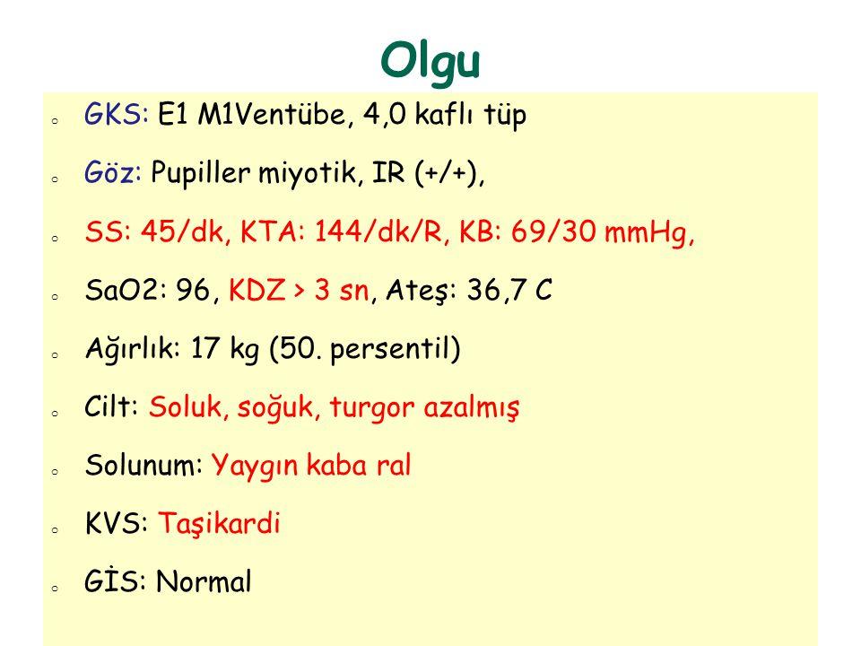 Olgu o GKS: E1 M1Ventübe, 4,0 kaflı tüp o Göz: Pupiller miyotik, IR (+/+), o SS: 45/dk, KTA: 144/dk/R, KB: 69/30 mmHg, o SaO2: 96, KDZ > 3 sn, Ateş: 3