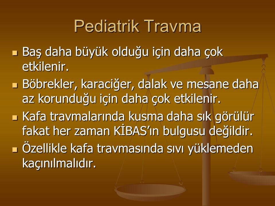 Pediatrik Travma Baş daha büyük olduğu için daha çok etkilenir. Baş daha büyük olduğu için daha çok etkilenir. Böbrekler, karaciğer, dalak ve mesane d