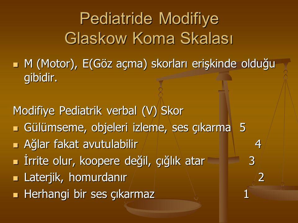 Pediatride Modifiye Glaskow Koma Skalası M (Motor), E(Göz açma) skorları erişkinde olduğu gibidir. M (Motor), E(Göz açma) skorları erişkinde olduğu gi