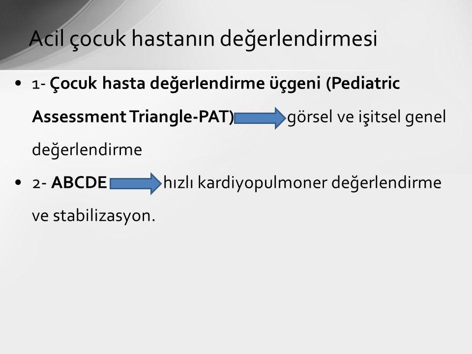 1- Çocuk hasta değerlendirme üçgeni (Pediatric Assessment Triangle-PAT) görsel ve işitsel genel değerlendirme 2- ABCDE hızlı kardiyopulmoner değerlendirme ve stabilizasyon.