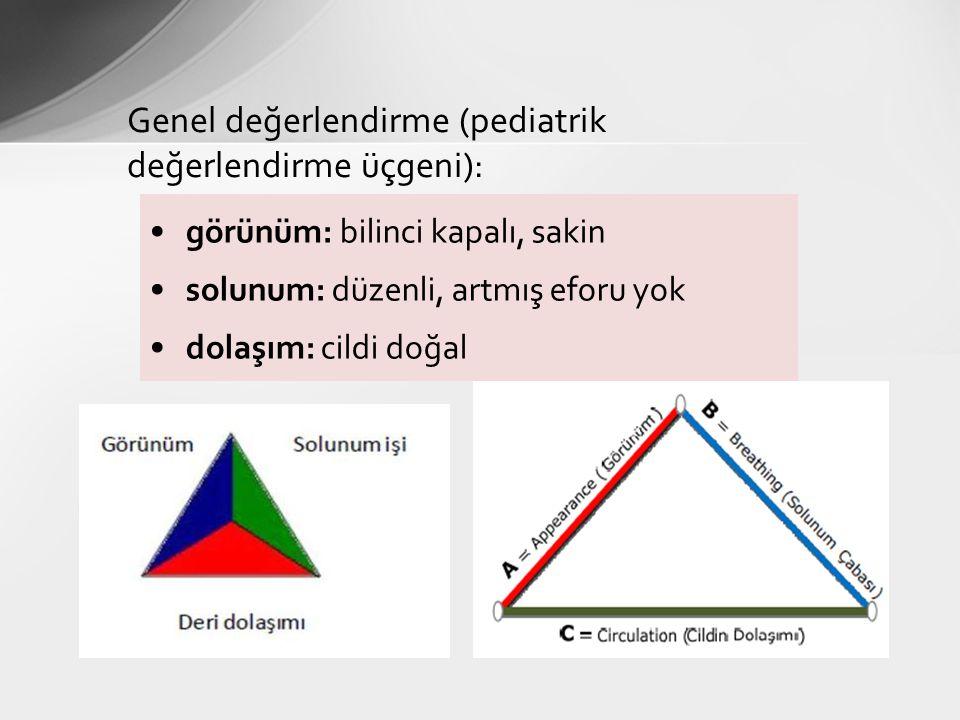Genel değerlendirme (pediatrik değerlendirme üçgeni): görünüm: bilinci kapalı, sakin solunum: düzenli, artmış eforu yok dolaşım: cildi doğal