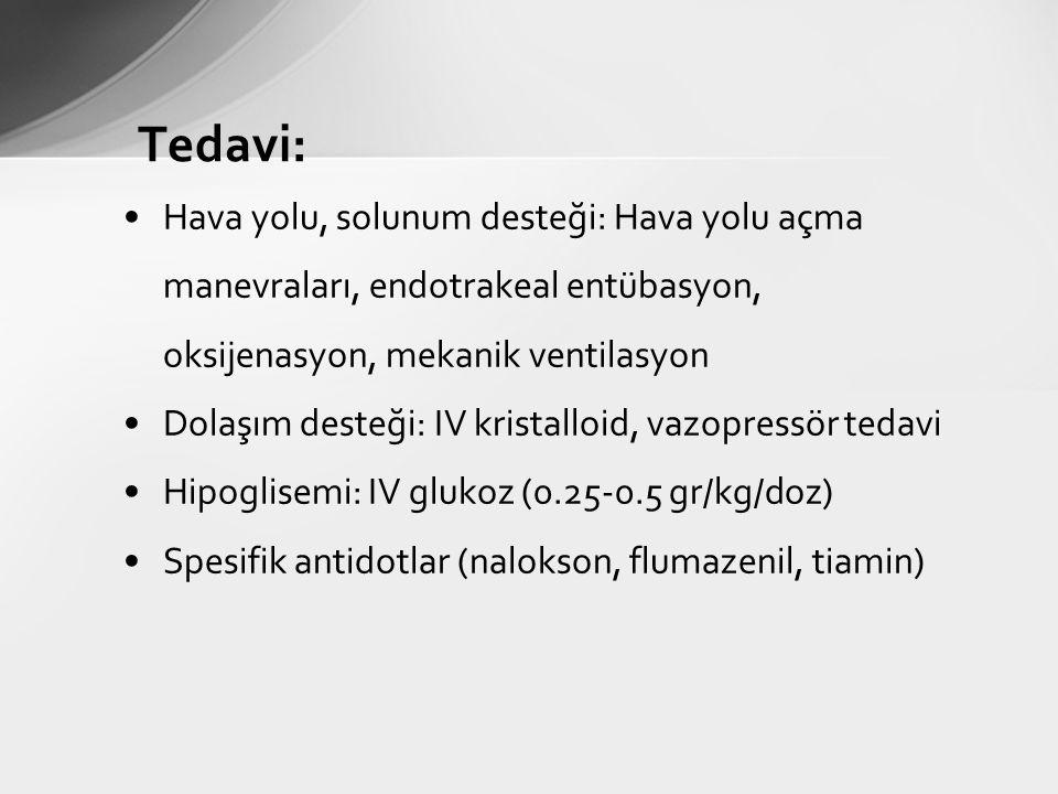Tedavi: Hava yolu, solunum desteği: Hava yolu açma manevraları, endotrakeal entübasyon, oksijenasyon, mekanik ventilasyon Dolaşım desteği: IV kristalloid, vazopressör tedavi Hipoglisemi: IV glukoz (0.25-0.5 gr/kg/doz) Spesifik antidotlar (nalokson, flumazenil, tiamin)