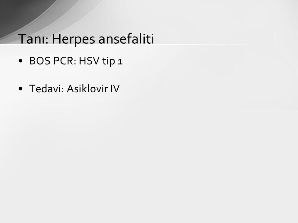 Tanı: Herpes ansefaliti BOS PCR: HSV tip 1 Tedavi: Asiklovir IV