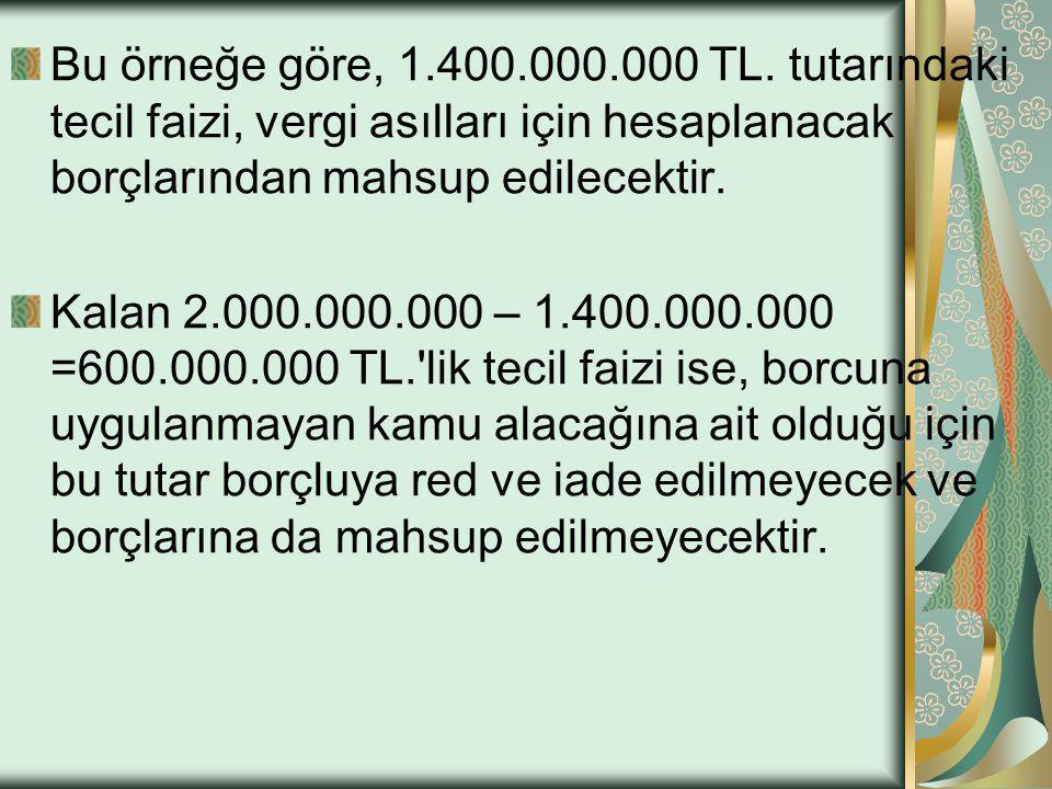 Bu örneğe göre, 1.400.000.000 TL. tutarındaki tecil faizi, vergi asılları için hesaplanacak borçlarından mahsup edilecektir. Kalan 2.000.000.000 – 1.4