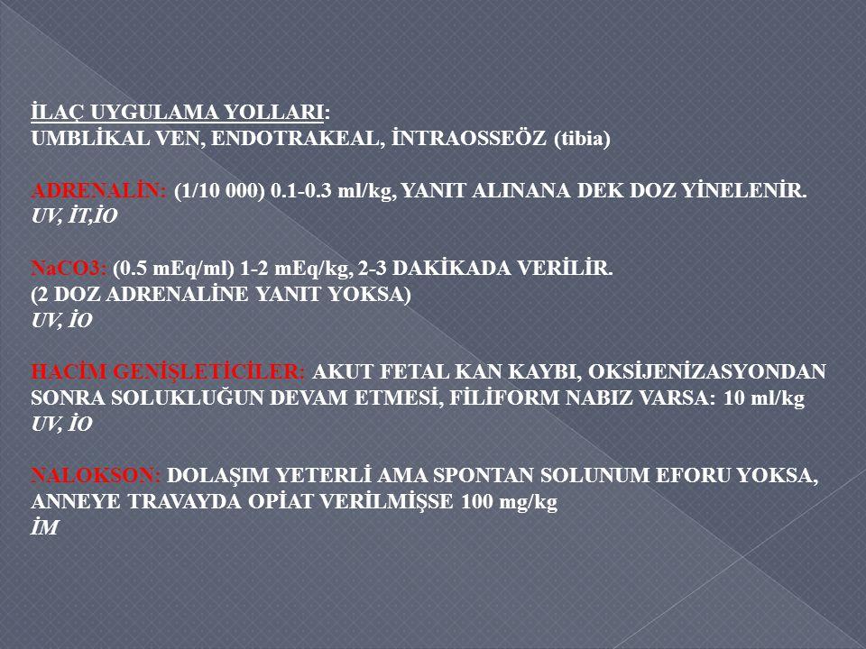 İLAÇ UYGULAMA YOLLARI: UMBLİKAL VEN, ENDOTRAKEAL, İNTRAOSSEÖZ (tibia) ADRENALİN: (1/10 000) 0.1-0.3 ml/kg, YANIT ALINANA DEK DOZ YİNELENİR. UV, İT,İO