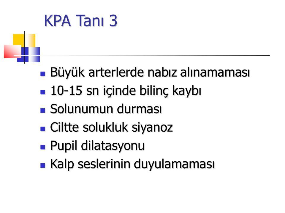 KPA Tanı 3 KPA Tanı 3 Büyük arterlerde nabız alınamaması Büyük arterlerde nabız alınamaması 10-15 sn içinde bilinç kaybı 10-15 sn içinde bilinç kaybı Solunumun durması Solunumun durması Ciltte solukluk siyanoz Ciltte solukluk siyanoz Pupil dilatasyonu Pupil dilatasyonu Kalp seslerinin duyulamaması Kalp seslerinin duyulamaması