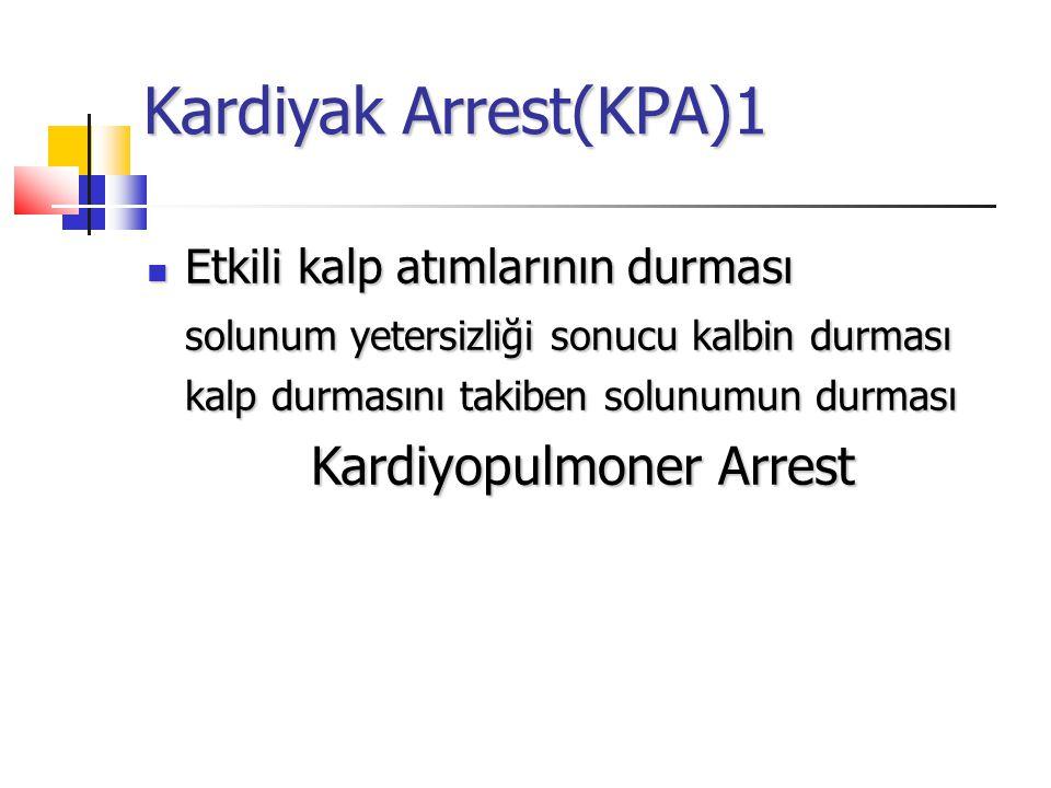 Kardiyak Arrest(KPA)1 Etkili kalp atımlarının durması Etkili kalp atımlarının durması solunum yetersizliği sonucu kalbin durması kalp durmasını takiben solunumun durması Kardiyopulmoner Arrest