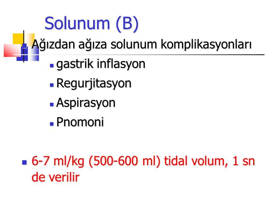 Solunum (B) Ağızdan ağıza solunum komplikasyonları Ağızdan ağıza solunum komplikasyonları gastrik inflasyon gastrik inflasyon Regurjitasyon Regurjitasyon Aspirasyon Aspirasyon Pnomoni Pnomoni 6-7 ml/kg (500-600 ml) tidal volum, 1 sn de verilir 6-7 ml/kg (500-600 ml) tidal volum, 1 sn de verilir