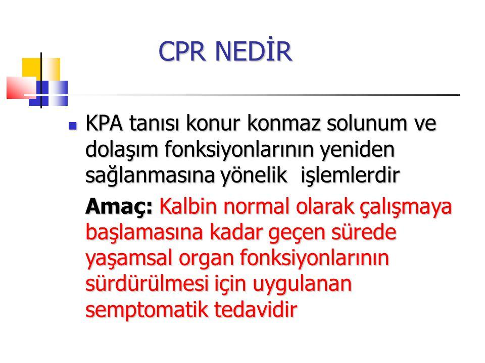 CPR NEDİR CPR NEDİR KPA tanısı konur konmaz solunum ve dolaşım fonksiyonlarının yeniden sağlanmasına yönelik işlemlerdir KPA tanısı konur konmaz solunum ve dolaşım fonksiyonlarının yeniden sağlanmasına yönelik işlemlerdir Amaç: Kalbin normal olarak çalışmaya başlamasına kadar geçen sürede yaşamsal organ fonksiyonlarının sürdürülmesi için uygulanan semptomatik tedavidir