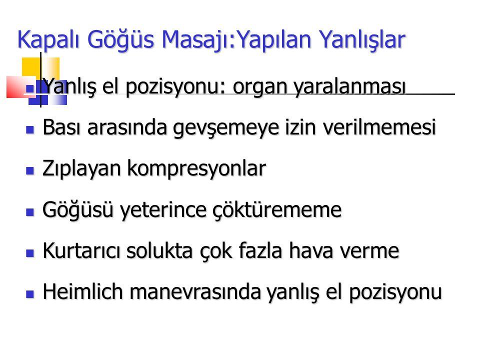 Kapalı Göğüs Masajı:Yapılan Yanlışlar Yanlış el pozisyonu: organ yaralanması Yanlış el pozisyonu: organ yaralanması Bası arasında gevşemeye izin veril