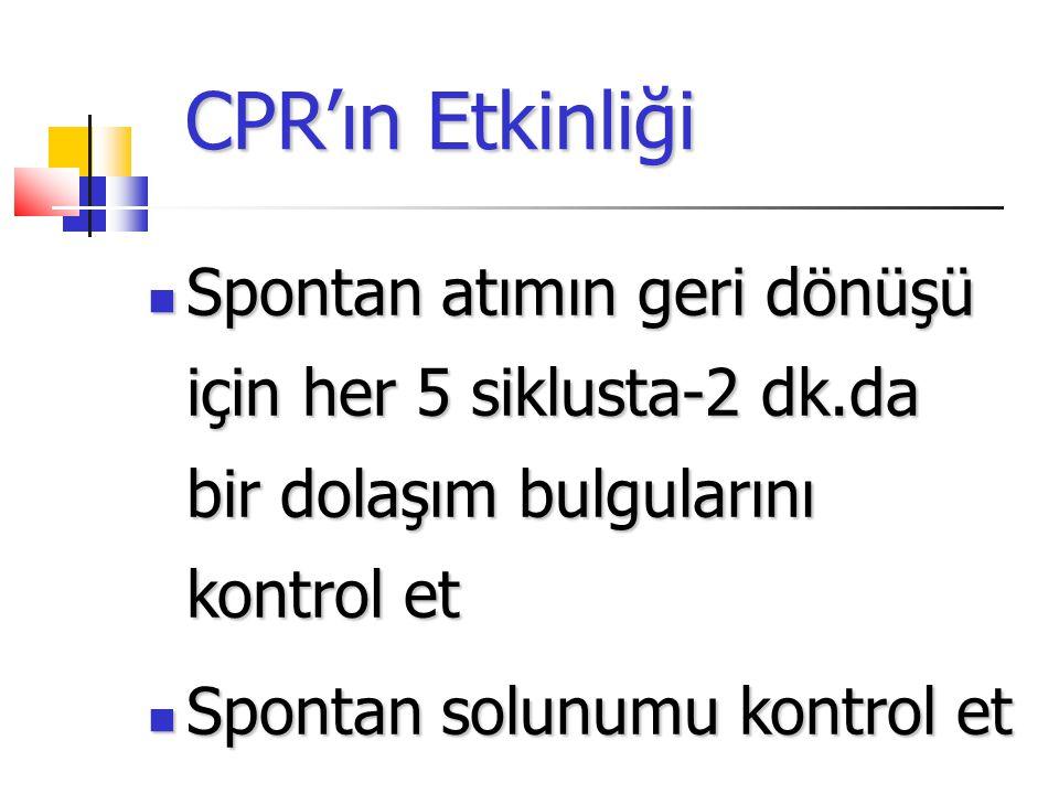 CPR'ın Etkinliği Spontan atımın geri dönüşü için her 5 siklusta-2 dk.da bir dolaşım bulgularını kontrol et Spontan atımın geri dönüşü için her 5 siklusta-2 dk.da bir dolaşım bulgularını kontrol et Spontan solunumu kontrol et Spontan solunumu kontrol et