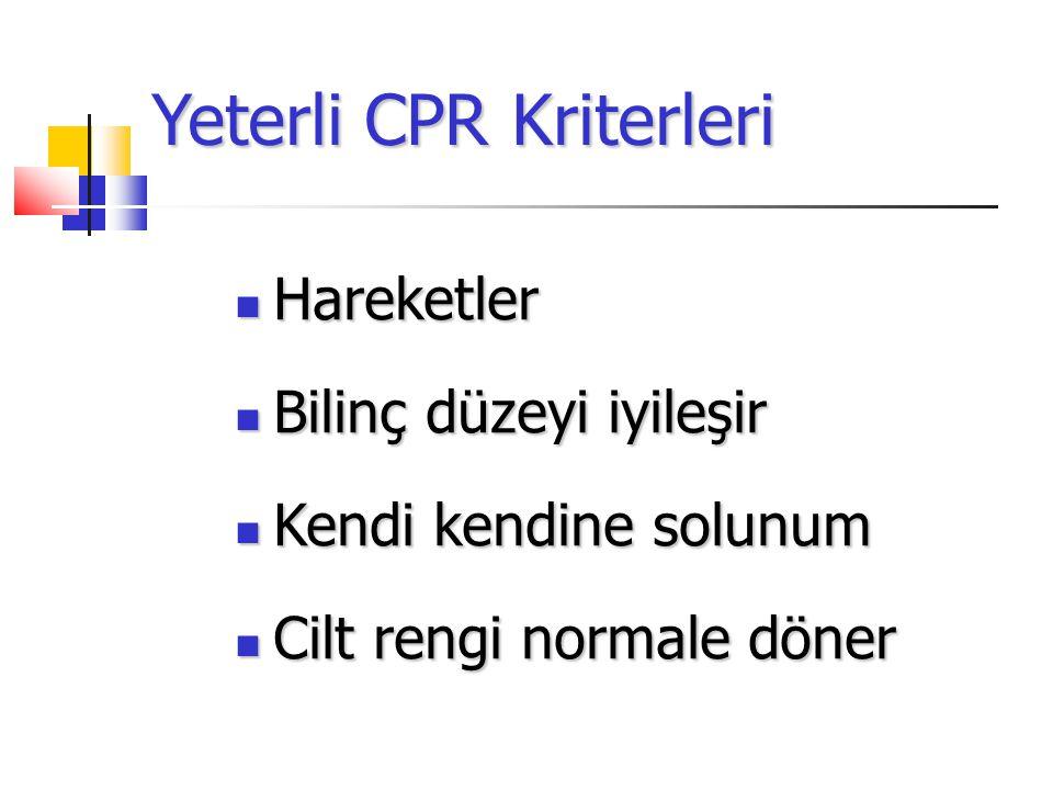 Yeterli CPR Kriterleri Hareketler Hareketler Bilinç düzeyi iyileşir Bilinç düzeyi iyileşir Kendi kendine solunum Kendi kendine solunum Cilt rengi normale döner Cilt rengi normale döner