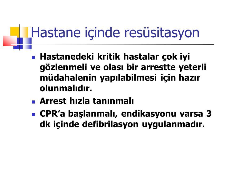 Hastane içinde resüsitasyon Hastanedeki kritik hastalar çok iyi gözlenmeli ve olası bir arrestte yeterli müdahalenin yapılabilmesi için hazır olunmalı