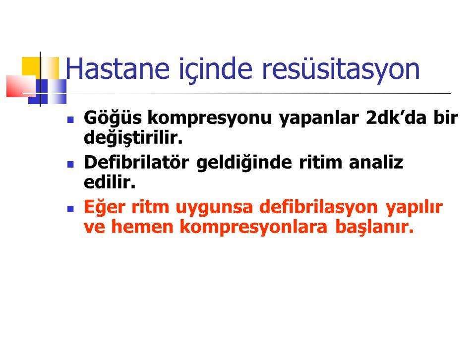 Hastane içinde resüsitasyon Göğüs kompresyonu yapanlar 2dk'da bir değiştirilir.