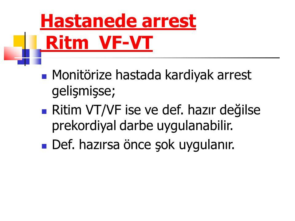 Hastanede arrest Ritm VF-VT Monitörize hastada kardiyak arrest gelişmişse; Ritim VT/VF ise ve def. hazır değilse prekordiyal darbe uygulanabilir. Def.