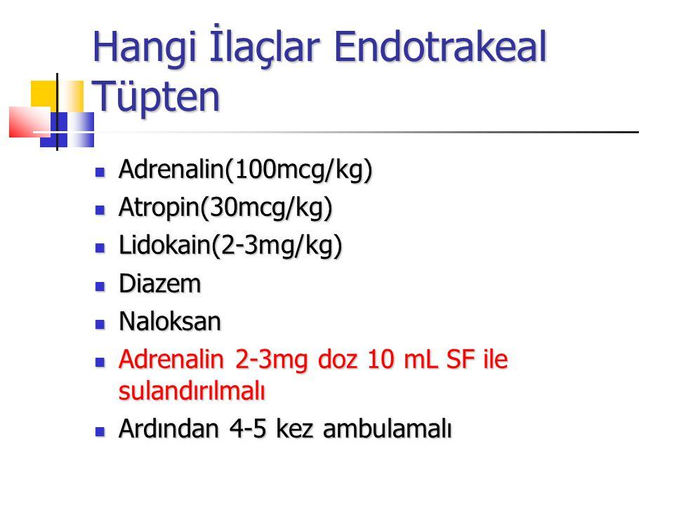 Hangi İlaçlar Endotrakeal Tüpten Adrenalin(100mcg/kg) Adrenalin(100mcg/kg) Atropin(30mcg/kg) Atropin(30mcg/kg) Lidokain(2-3mg/kg) Lidokain(2-3mg/kg) Diazem Diazem Naloksan Naloksan Adrenalin 2-3mg doz 10 mL SF ile sulandırılmalı Adrenalin 2-3mg doz 10 mL SF ile sulandırılmalı Ardından 4-5 kez ambulamalı Ardından 4-5 kez ambulamalı