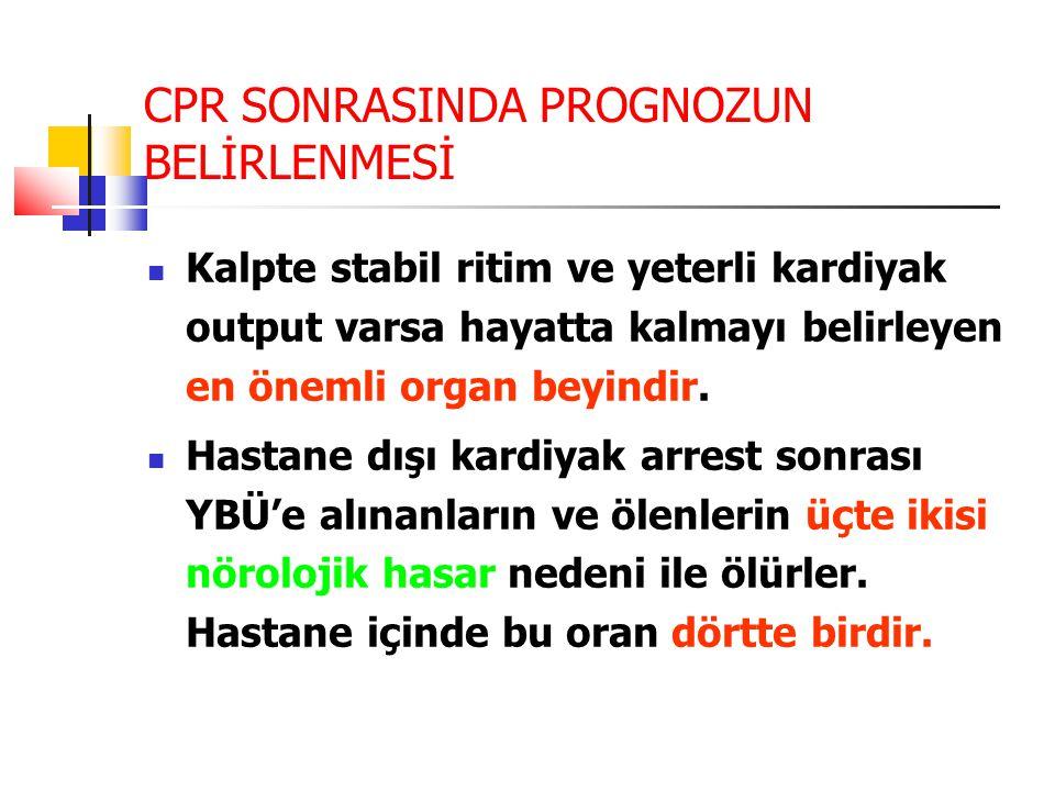 CPR SONRASINDA PROGNOZUN BELİRLENMESİ Kalpte stabil ritim ve yeterli kardiyak output varsa hayatta kalmayı belirleyen en önemli organ beyindir.
